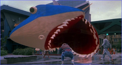 Marty being eaten by 'holographic Jaws.'