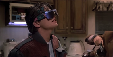 Marty Jr. viewing an incoming phone call in his glasses.