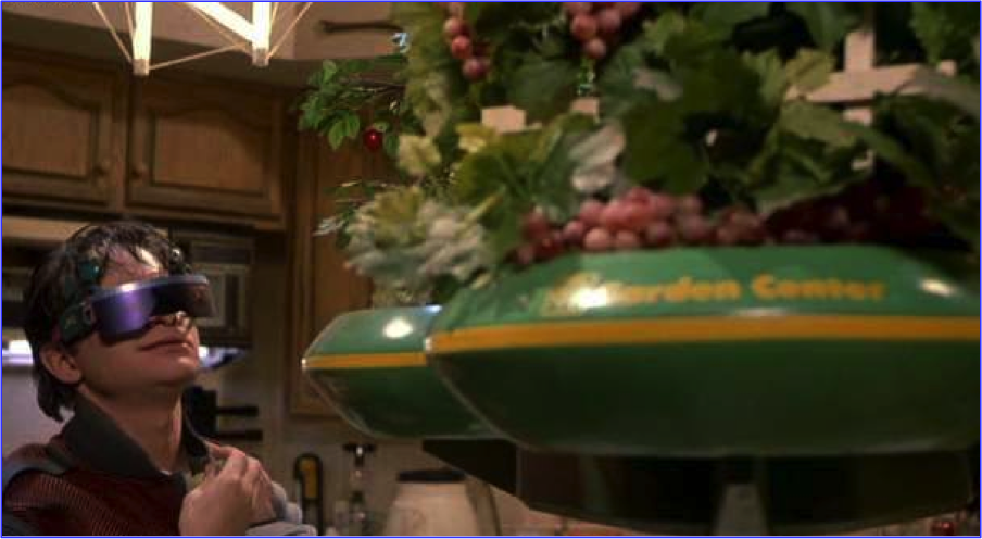 Marty Jr. reaching for fruit from the retractable garden in his kitchen.