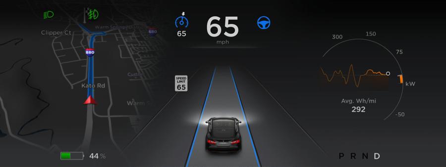 The dashboard inside a Tesla vehicle (Source: Tesla Motors)