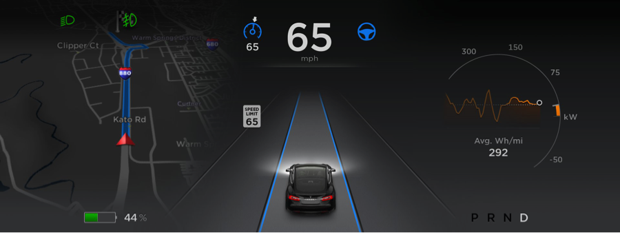 The dashboard inside a Tesla vehicle (Source: Tesla Motors)