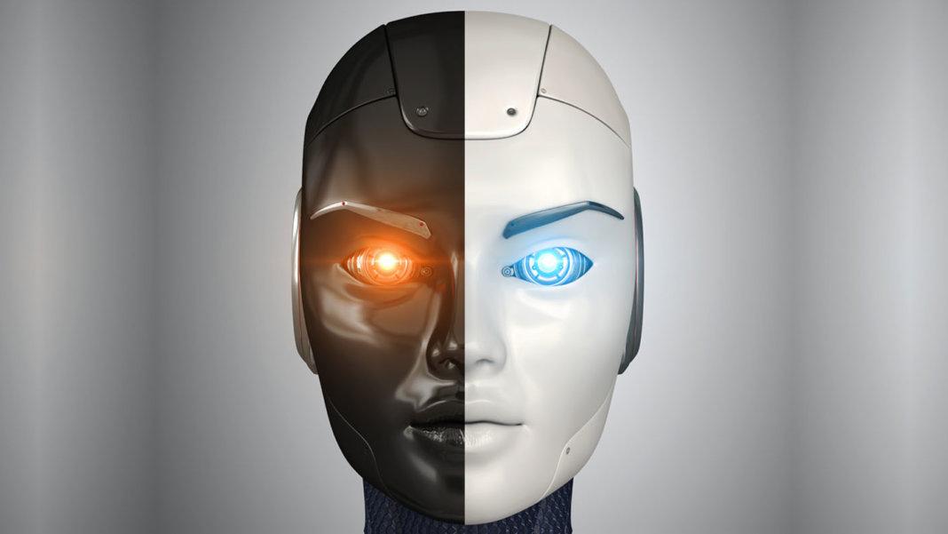 artificial intelligence robots head close up 3d ai illustration