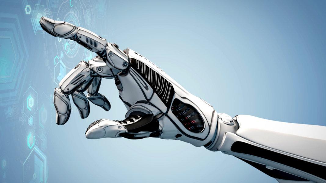 robot arm pressing buttons on a digital screen